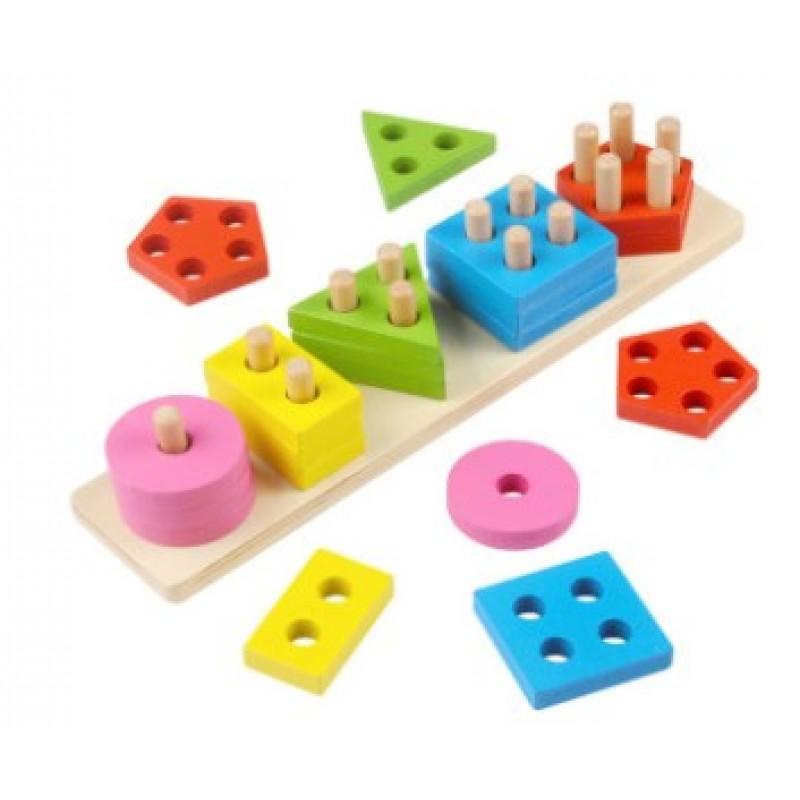 Montessori Five Shapes Wooden Puzzle W-Handle