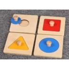 Montessori 4 Geometric Shape Wooden Puzzle w-handle