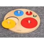 Montessori Five Circles Shape Wooden Puzzle W-Handle