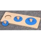 Montessori Three Circles Shape Wooden Puzzle W-Handle
