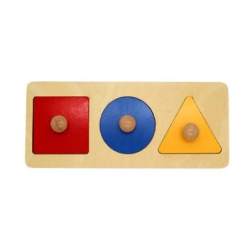 Montessori Three Geometric Shape Wooden Puzzle w-handle